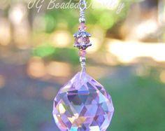 Púrpura mariposa azul prisma Suncatcher cristal por JGBeadedJewelry