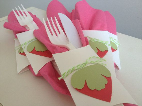 Paper party supplies- strawberry social theme, 6 white, green and red paper strawberry social theme utensil wrappers