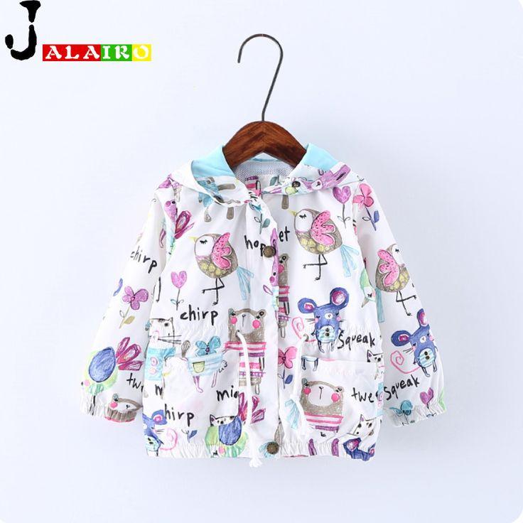 Spring Autumn Cute Baby Girl Coat Jackets Print Cartoon Graffiti Hooded Coats Baby Girls Jacket Children Toddler Girl Outerwear