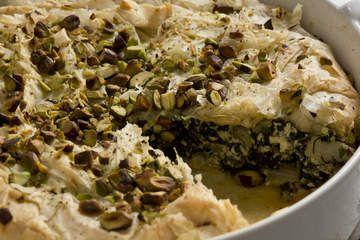 Filo pie with greens, feta and pistachio