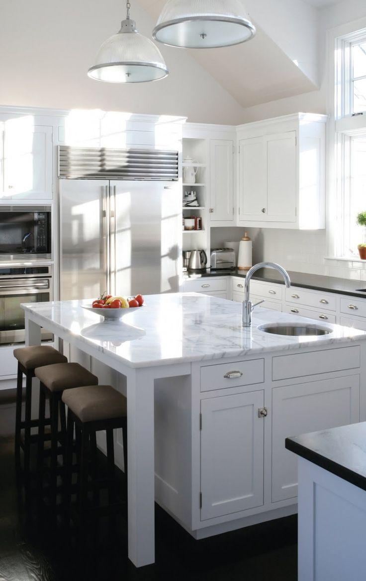 19 best kitchen marble island with dark perimeter countertops