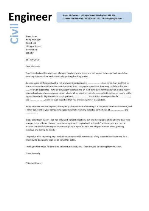 job application letter for civil engineer cover sample lettercv