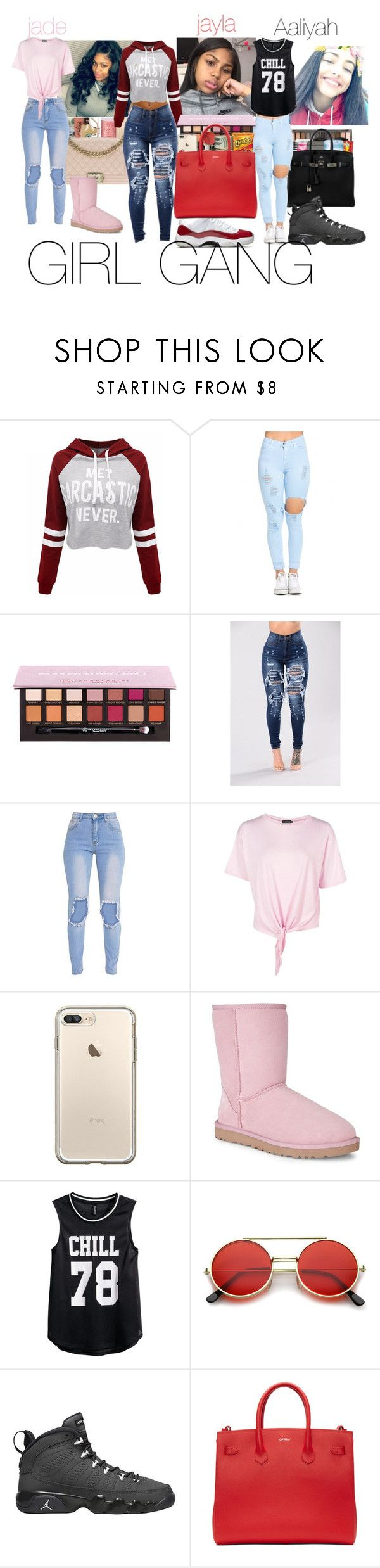 """""""GANG"""" by leahlacklandqueenboss ❤ liked on Polyvore featuring WithChic, Boohoo, UGG Australia, H&M, ZeroUV, Retrò and Off-White"""