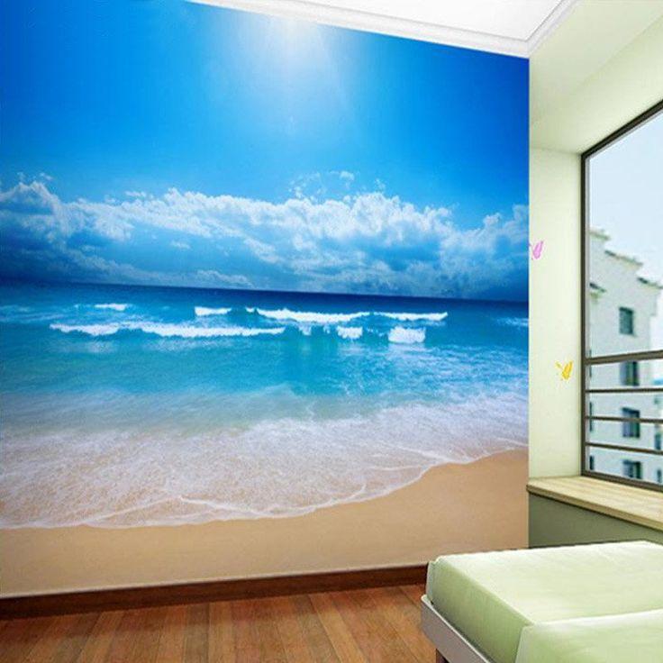 Customize 3D Sky & Beach Non-woven Wallpaper - Simply Adore