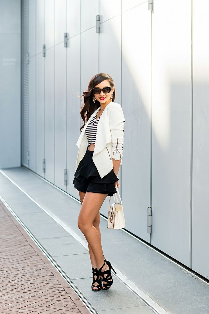 ruffled skorts and heels: