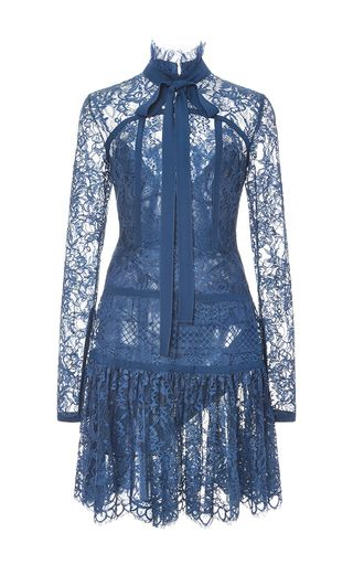Double Georgette And Lace Long Sleeve Dress by ELIE SAAB for Preorder on Moda Operandi