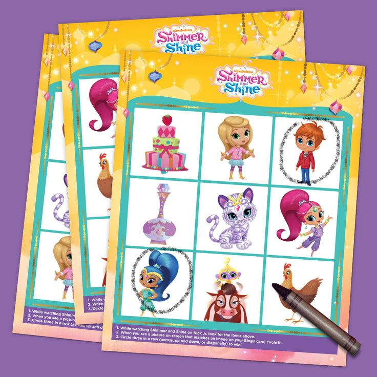 Shimmer and Shine TV Bingo Cards (Print Now) ~ Preschoolers can play bingo with their favorite genie friends!