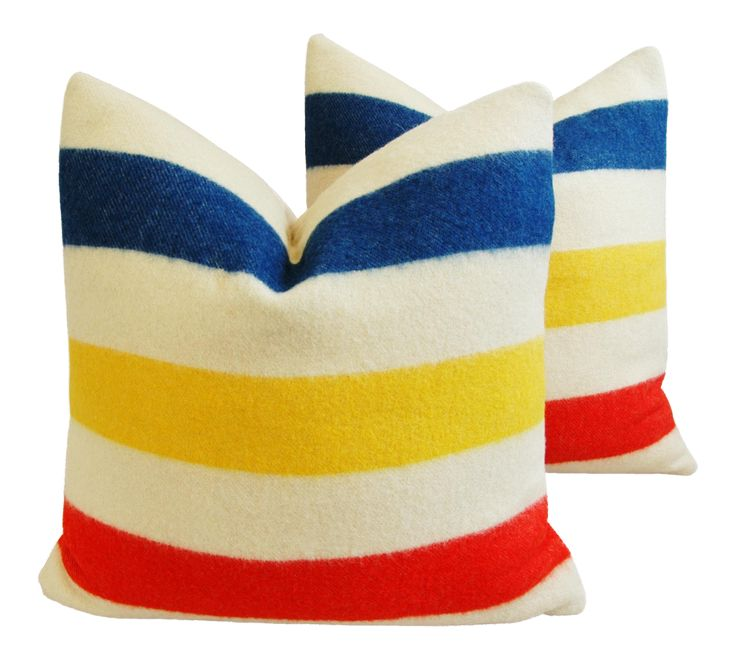 Hudson's Bay Camp Blanket Down Feather Pillows- A Pair on Chairish.com