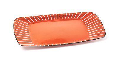 """ARNE KORSMO OG GRETE PRYTZ KITTELSEN Fat """"Strek"""", Cathrineholm. Formgitt 1955. Jern med oransje emalje og hvit linjedekor. Modellen er tegnet av Arne Korsmo, med dekor av Grete Prytz Kittelsen."""