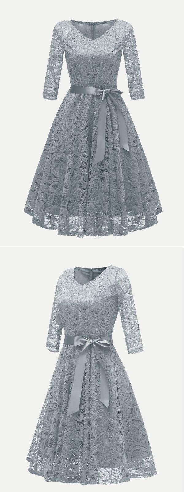 Vinfemass V-Ausschnitt Lace Belted Skater Party Dress