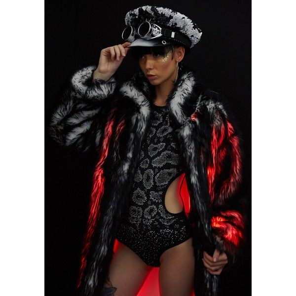 Burning Man J Valentine Black/Red Long Fau Fur Light-Up Jacket ($350) ❤ liked on Polyvore featuring outerwear, jackets, fur lined jacket, red jacket, long fur jacket, long jacket and longline jacket