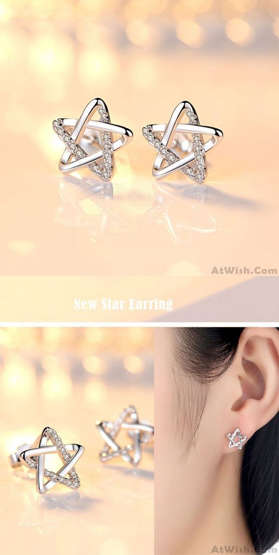 So cute earrings ! Cute Zircon Star Hollow Women Shining Star Silver Earring Studs #cute #star #hollow #silver #fashion #jewelry