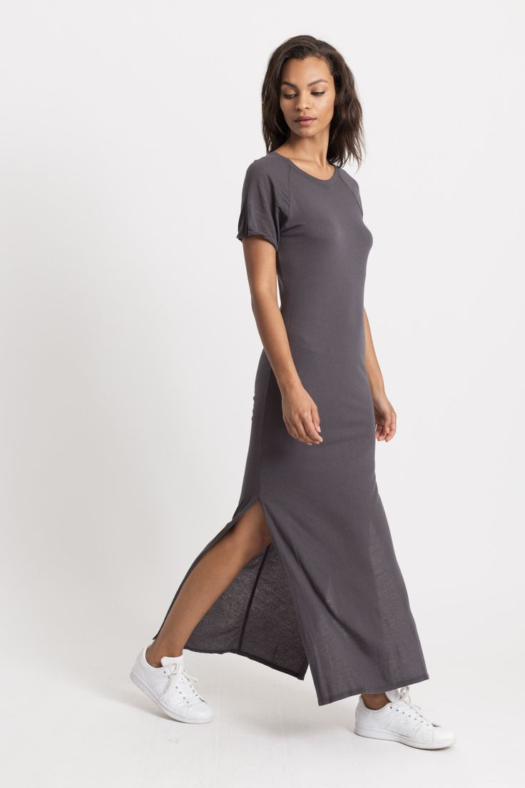 Modern Citizen | Modern Citizen-Miyuki Side-Slit Midi Dress (Charcoal)-Dresses- $72