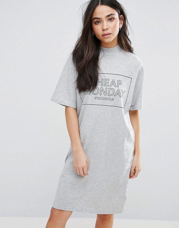 CHEAP MONDAY THIN BOX LOGO SMASH T-SHIRT DRESS - GRAY. #cheapmonday #cloth #