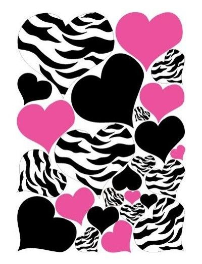 Zebra Print, Black and Hot Pink Heart Wall Stickers,decal, Graphics - Product Reviews and Prices - Shopping.com