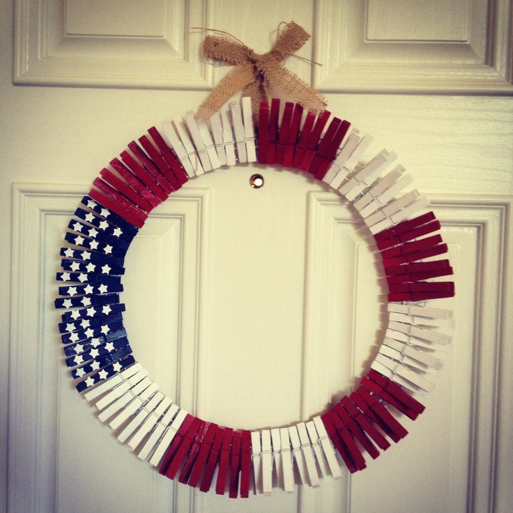 clothespin 4th of july wreath pinner says on metal wreath frame from hobby lobby she - Wire Wreath Frame Hobby Lobby