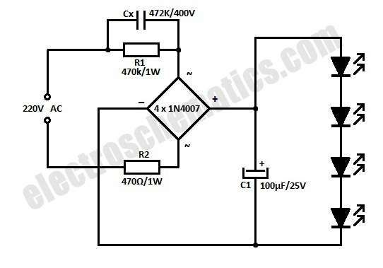 This Is The Simple Version Of A White Led Lamp That Can Be Directly Powered From Mains It Can Give Ample Led Lamp Diy Electrical Engineering Projects Led Diy