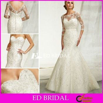 Best Beaded Trumpet Mermaid Strapless Sweetheart Court Train Lace Designer Wedding Dress Pattern with