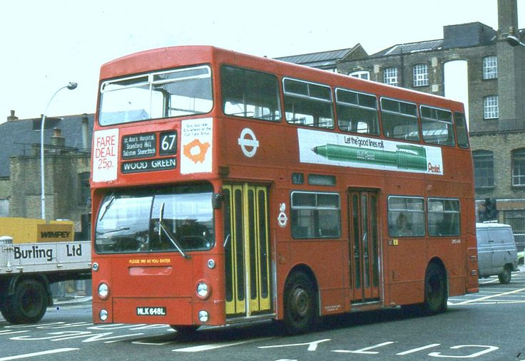 https://flic.kr/p/aRMcPV | London Transport . DMS648 MLK648L . Aldgate  10th-June-1981 . | Daimler Fleetline CRL6   -  Park Royal . H68D .   Going around the Aldgate gyratory DMS648 journeys  to Wood Green on Route 67 .   This is another London Bus Route , whose roots go back to Trolleybus days . When Trolleybuses from Stamford Hill depot plied their trade on Trolleybus Route 647 between Stamford Hill and ( the ) London Docks .  10th-June-1981