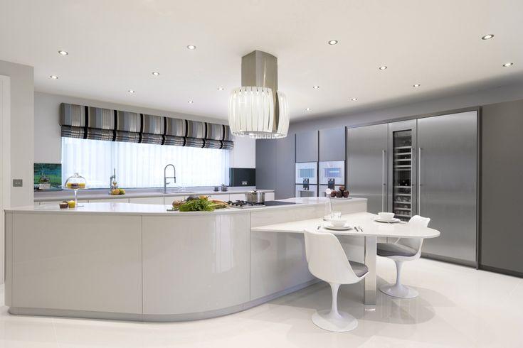Pedini Dune kitchen in Light Grey & Iron Grey Gloss, Gaggenau appliances.