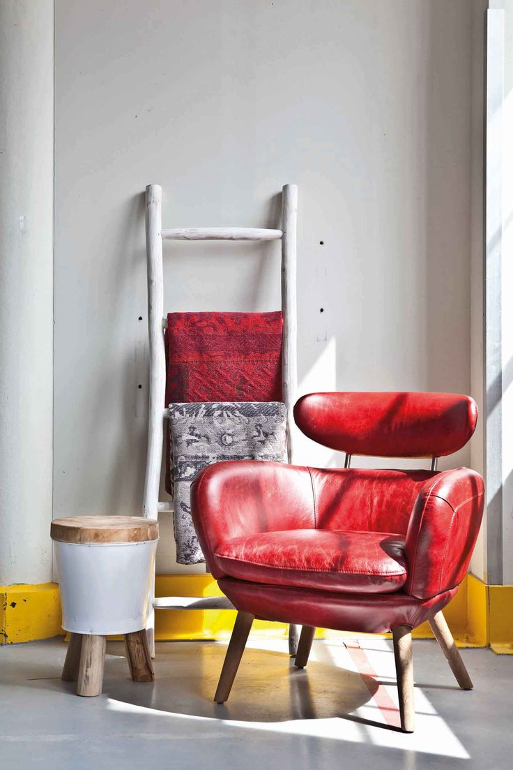 Patchwork - grey & red | Stool Bucket - white