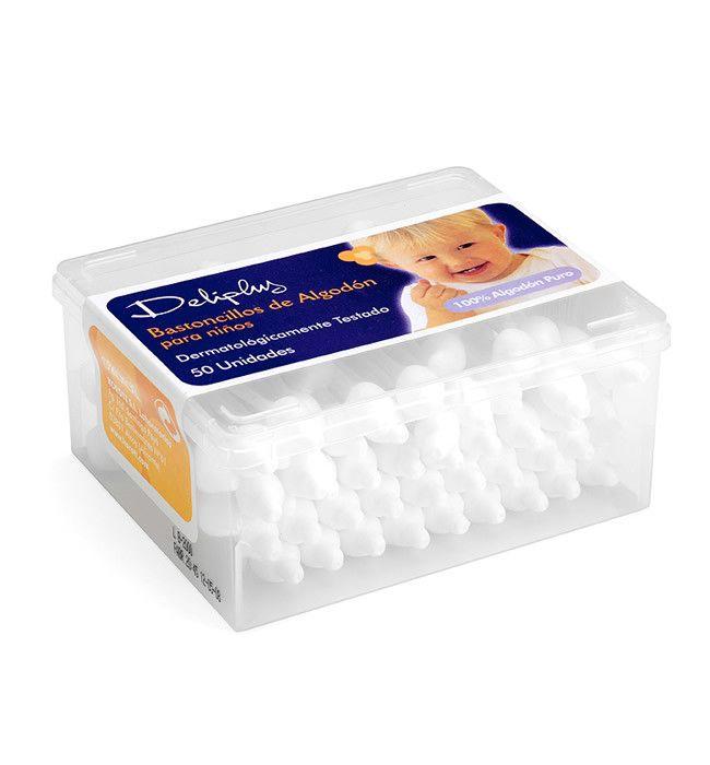 BASTONCILLOS DE ALGODÓN PARA NIÑOS Dermatológicamente testado. Caja con 50 unidades.