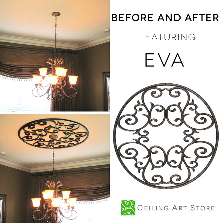 Faux Iron Ceiling Medallion | Introducing Eva, an open design ceiling medallion complimentary to most ceiling fixtures. Here, Eva is featured in our Antique Bronze finish, but can be ordered in various other finishes as well.