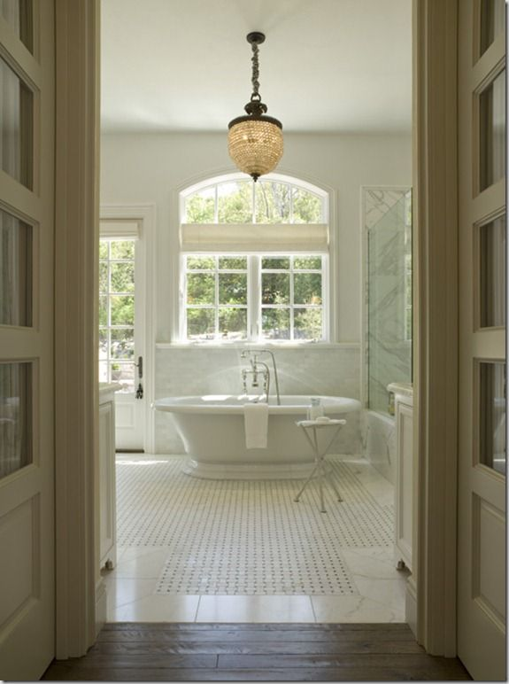 tub of my dreams (but could be a bit BIGGER!)Crystals Chand, Old House, Lights Fixtures, Floors, Marbles, Glasses Shower, White Bathroom, Mosaics Tile, Master Bathroom