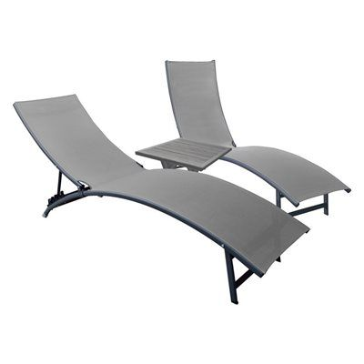 Vivere midtown 2 count charcoal aluminum folding chaise for Aluminum folding chaise lounge