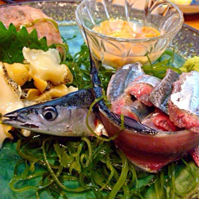ウニの塩漬け、秋刀魚、つぶ貝 - 46件のもぐもぐ - assortment of sashimi3種盛り by Ami