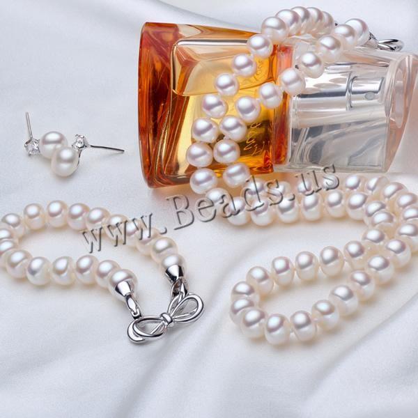 Ensembles de bijoux de perle d'eau douce de culture naturelle, Bracelet & boucle d'oreille & collier