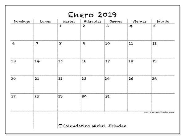 Calendario Enero 2019 77ds Imprimibles Calendar Calendar