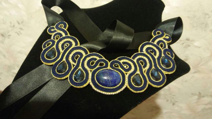 Сутажное колье от KforU. Камень-лазурит овал, бусины-горный хрусталь+чешский бисер, коисталы синие, сутажный шнур-синий, золотой, изнанка - синяя замша. 50$