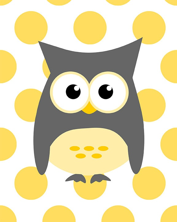 Owl on yellow dots - nursery baby shower wall art - choose your color - digital print - 8x10 on A4. €12.00, via Etsy.