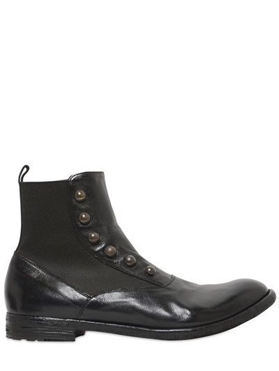 $591, Officine Creative Leather Chelsea Cropped Boots. Sold by LUISAVIAROMA. Click for more info: https://lookastic.com/men/shop_items/288976/redirect