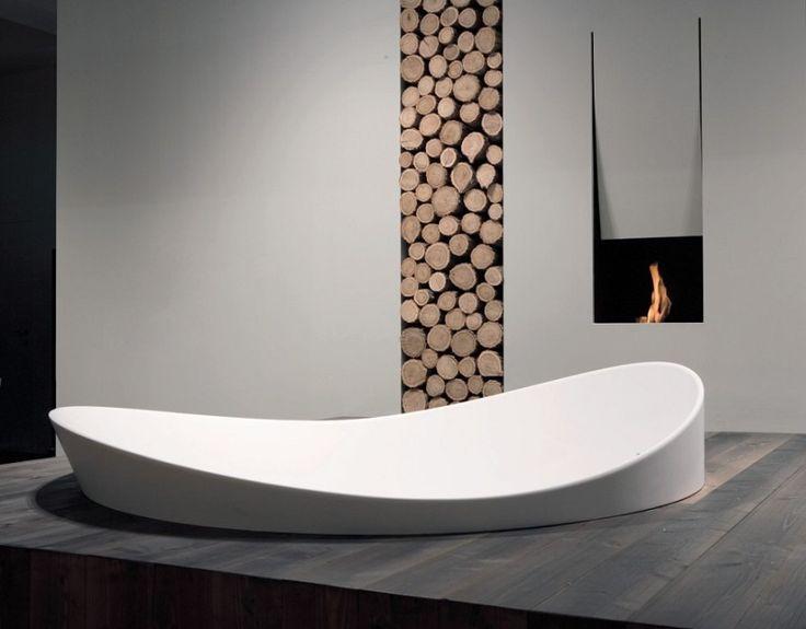 minimal bath  wood burner - antonio lupi