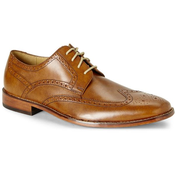 Cole Haan Tan Giraldo Wingtip Oxfords ($130) ❤ liked on Polyvore featuring men's fashion, men's shoes, men's oxfords, beige, mens shoes, mens lace up shoes, mens tan brogues, mens brogue shoes and mens square toe shoes