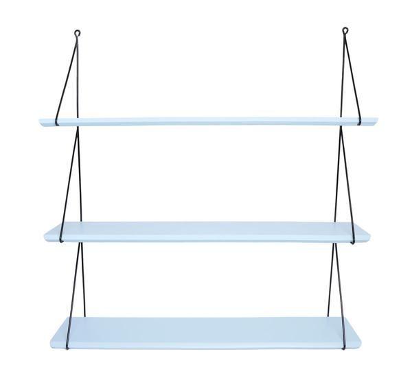 """Mooi aqua blue houten wandrekje van het Franse label """"Rose in April"""" met 3 legplanken. Staat prachtig in elke kinderkamer, maar kan ook in de woonkamer, keuken of badkamer gebruikt worden. Verkrijgbaar in andere kleuren. Vervaardigd uit dennenhout. De legplanken kunnen eenvoudig in het zwart metalen frame gemonteerd worden. dennenhout en metaal L 66 cm - H 69 cm - D 14 cm"""