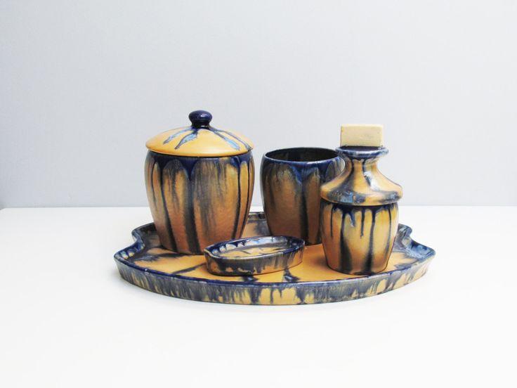 1950s Ceramic Smoker Set retro Vintage 5 piece, cigarette tobacco cigar Thulin Belgium, drip glaze blue, light brown base by EbyVintage on Etsy
