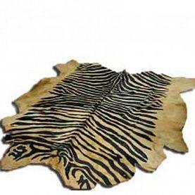 Меховой ковер-шкура ЗЕБРА бежево-коричневая