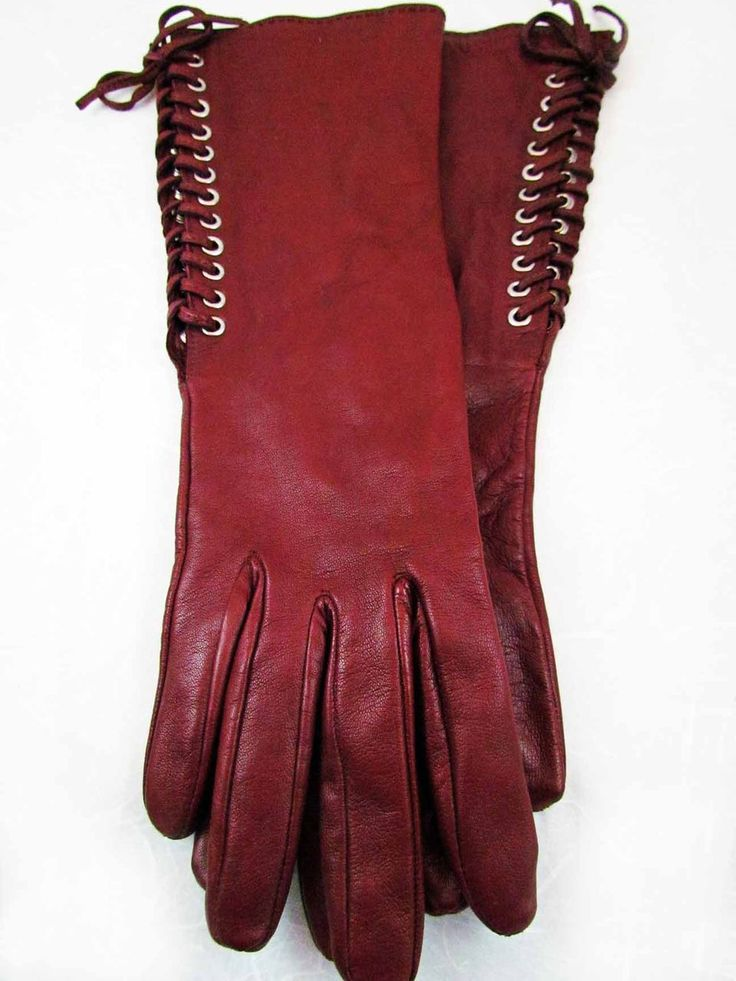 ladies antique gloves | Vintage Georges Rech Burgundy Ladies Leather Gloves