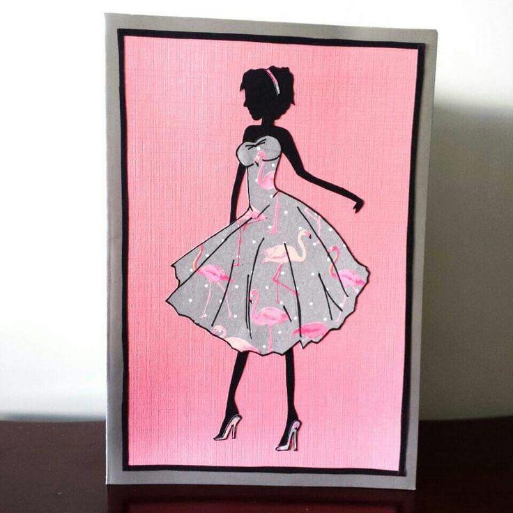 Evie in a fabulous flamingo dress! #petalsandperfumecards #greetingcards