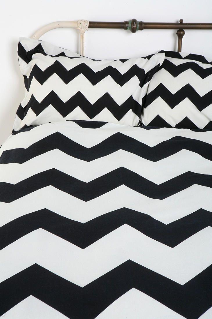 bedroom - black chevron shams. Love the black and white for my bedroom.