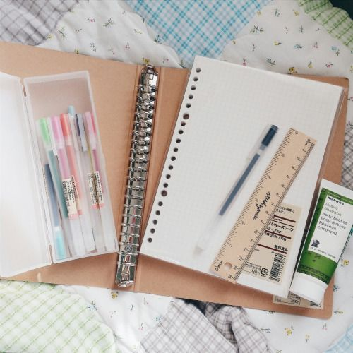 workhardlikegranger: Stationery + Misc. • Muji Gel Ink Pens 0.38 + 0.5 • Muji A5 Ring Binder • Muji A5 5mm Loose Leaf Paper • Study Mate Wooden Ruler 15cm • Korres Guava Body Butter ""