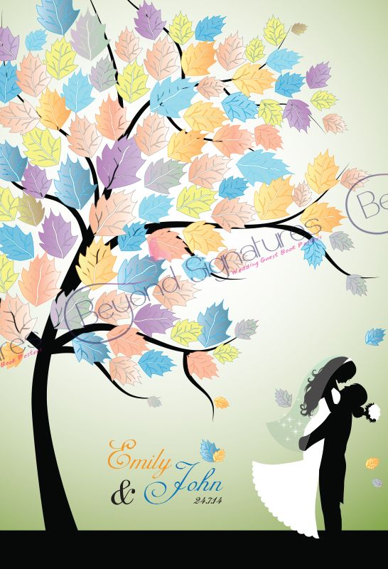 Couple Embracing Under Tree Wedding Guest Book Poster - www.beyondsignatures.com