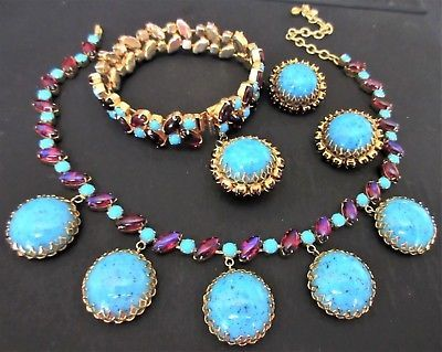 Rare Hattie Carnegie Turquoise & Dragons Breath Glass Runway Necklace Only!