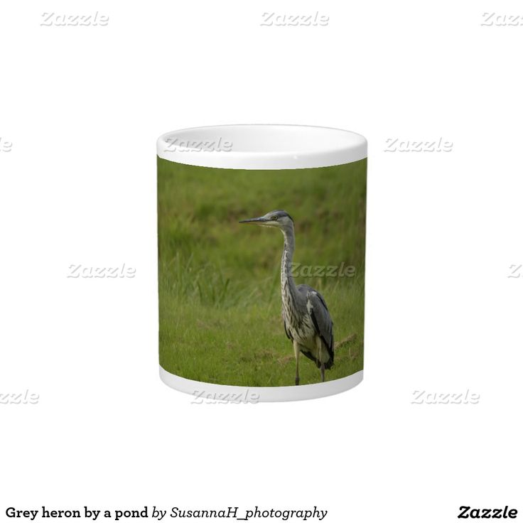 Grey heron by a pond 20 oz large ceramic coffee mug