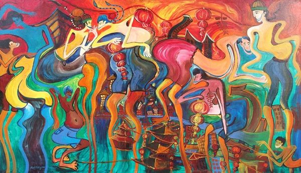 Imlek, acrylic on canvas, 149 x 85 cm, 2011, By Rudiansyah