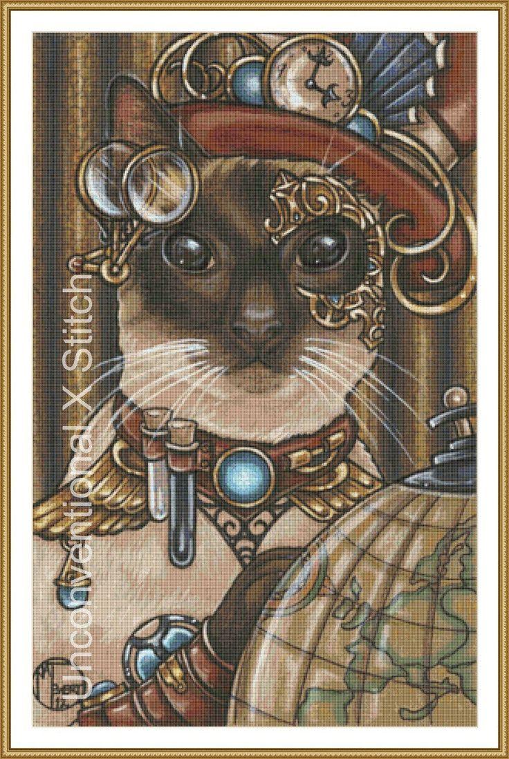 Steampunk cat cross stitch pattern - modern counted cross stitch - Zsa Zsa The Steampunk Cat  - Licensed Natalie Ewert by UnconventionalX on Etsy