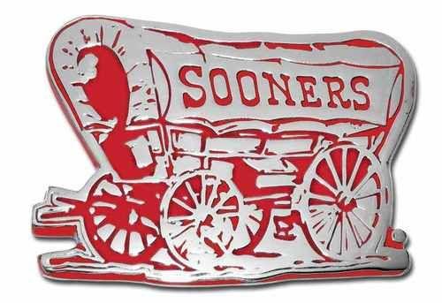 University of Oklahoma Sooner Schooner Chrome and Crimson Car Emblem